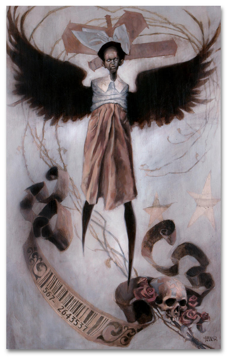 "28"" x 44"" DTLA Angel - Oil on a back framed masonite board"