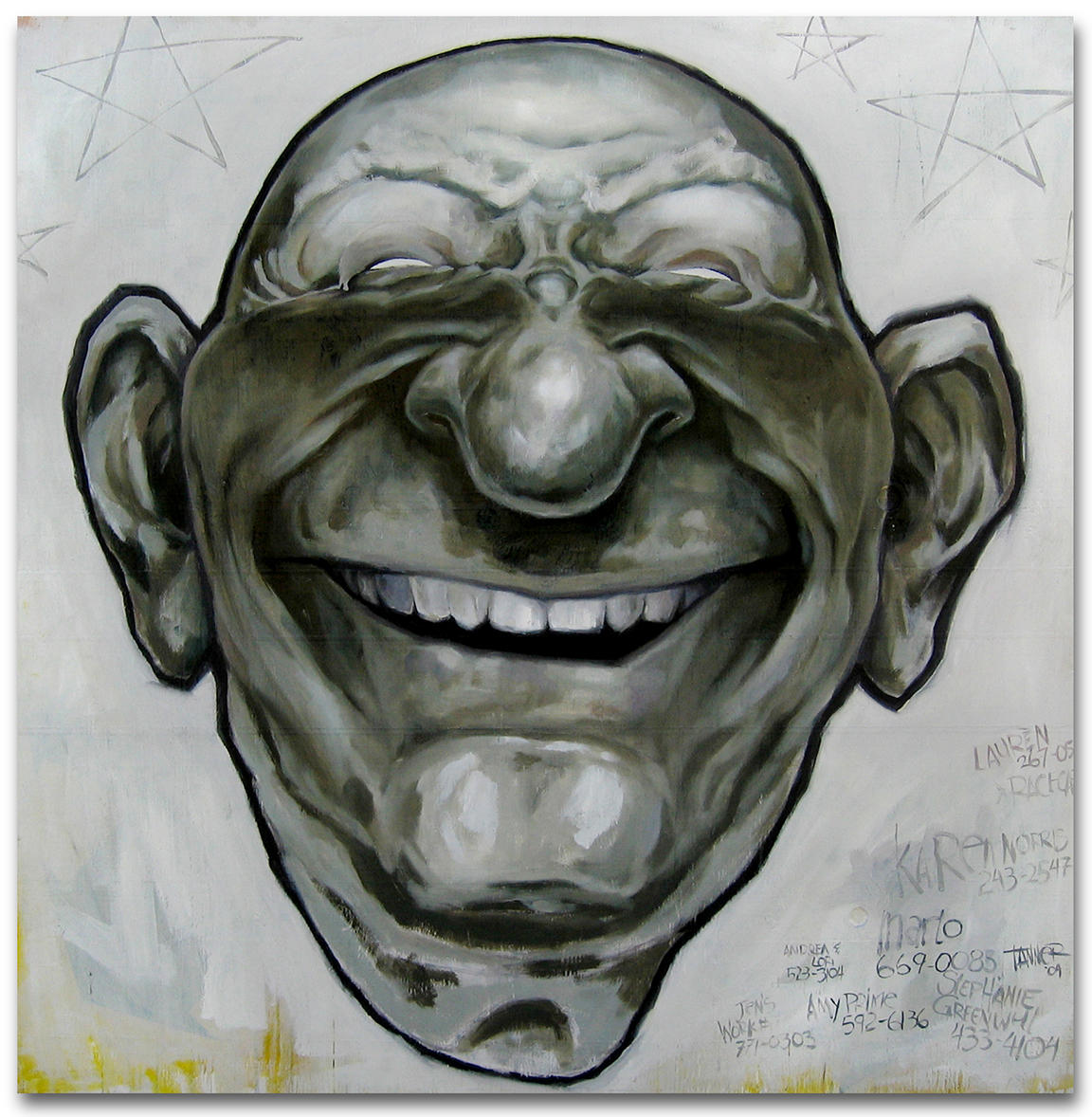 "48"" x 48"" All Smiles - Acrylic and Oil on a back framed wood panel"