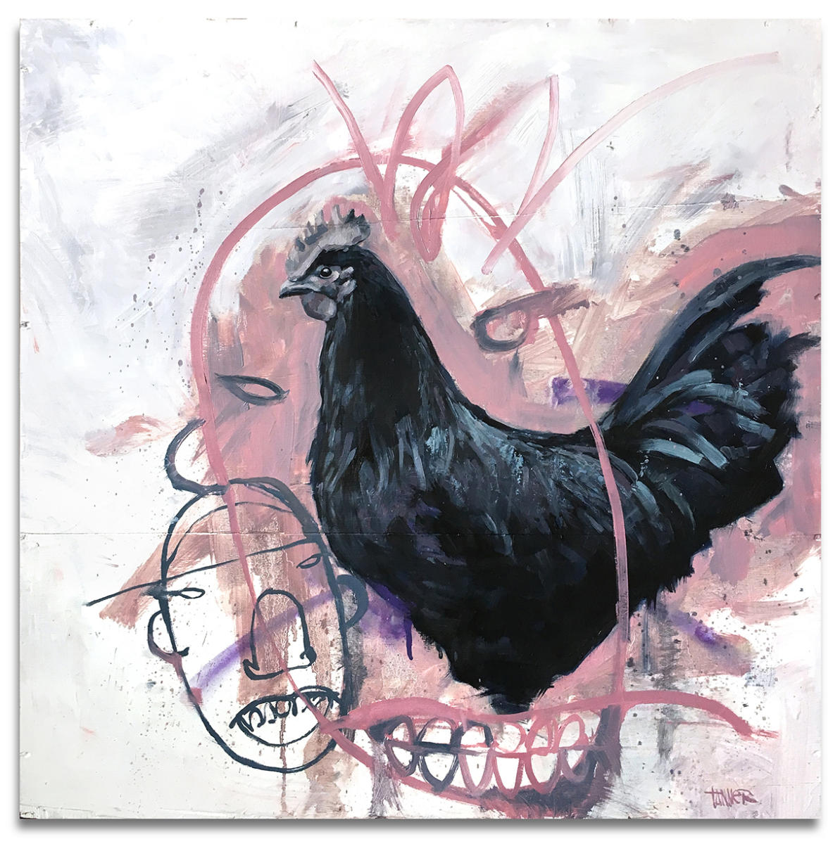 "Rooster Face - 29"" x 29"" Oil paint on wood. industrial wire spool box."