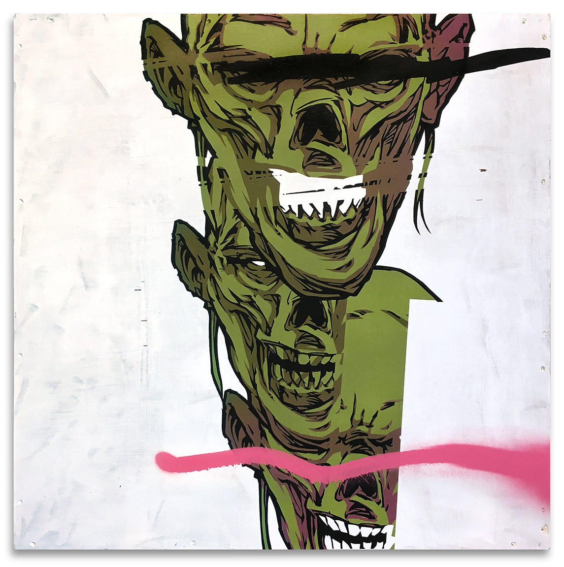 "Zombie Stack - 29"" x 29"" Acrylics, spray cans, oil pastel on wood, industrial wire spool box."