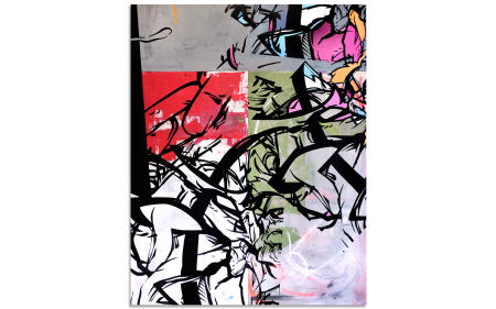 "Hint - 65"" x 48"" Acrylics, spray cans on wood panel."