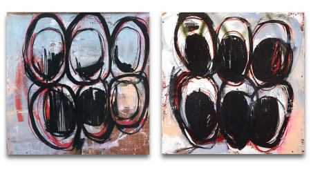 "Wire Box 01 & Wire Box 02  - - -  20"" x 20"" x 3"" Acrylics, spray paint and oil pastels on wire spindle wood boxes"