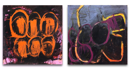 "Wire Box 05 & Wire Box 06  - - -  20"" x 20"" x 3"" Acrylics, spray paint and oil pastels on wire spindle wood boxes"