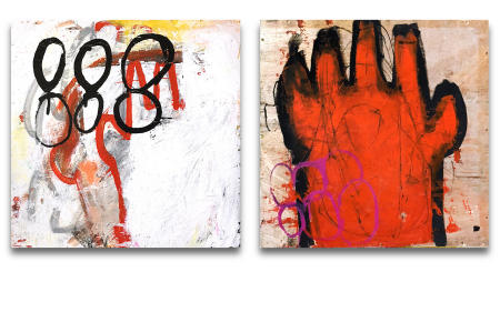 "Wire Box 07 & Wire Box 08  - - -  20"" x 20"" x 3"" Acrylics, spray paint and oil pastels on wire spindle wood boxes"