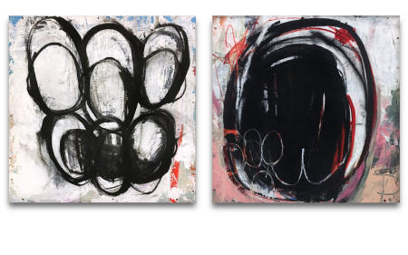 "Wire Box 11 & Wire Box 12  - - -  20"" x 20"" x 3"" Acrylics, spray paint and oil pastels on wire spindle wood boxes"
