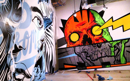 Interior Wall commission on the right. Tristan Eaton on the left.