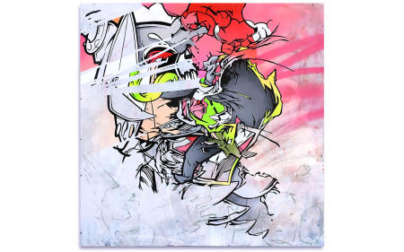 "Broken Jaw - 29"" x 29"" Acrylics, spray cans, oil pastel on wood, industrial wire spool box."