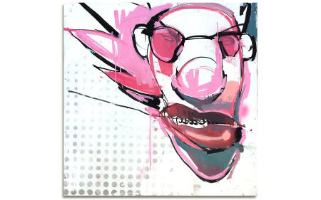 "Futures So Bright - 29"" x 29"" Acrylics, spray cans, oil pastel on wood, industrial wire spool box."