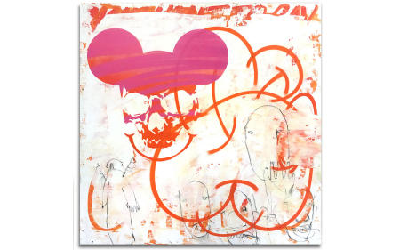 "Mickey Mask 01 - 29"" x 29"" Acrylics, spray cans, oil pastel on wood, industrial wire spool box."