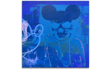 "Mickey Mask 03 - 29"" x 29"" Acrylics, spray cans, oil pastel on wood, industrial wire spool box."