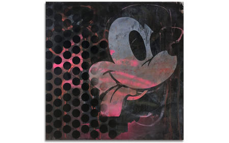 "Part Mickey - 29"" x 29"" Acrylics, spray cans, oil pastel on wood, industrial wire spool box."