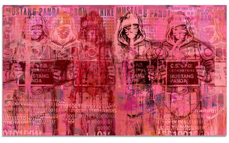 "Mustang Panda - 48"" x 82"" Acrylics, spray cans, collage, silk screen on two wood panels."