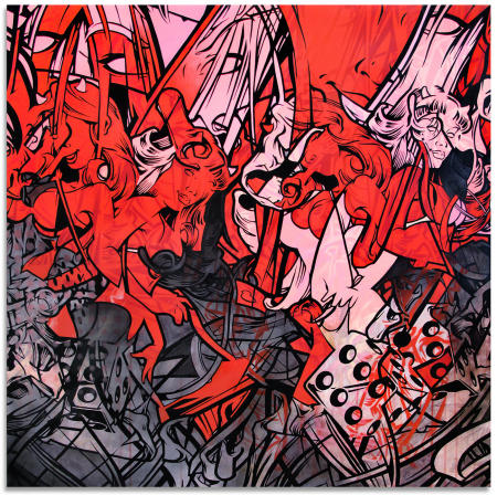 "Red Forty-Eight - 48"" x 48"" Acrylics, spray paint and oil on wood panel"