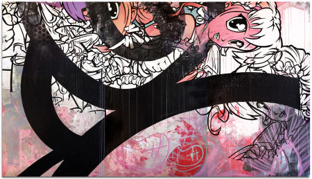 "Cherry Melt - 90"" x 144"" Acrylics, spray paint and oils on three wood panels"