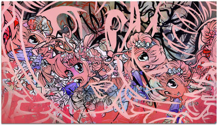 "Cherry Pop - 90"" x 144"" Acrylics, spray paint and oils on three wood panels"